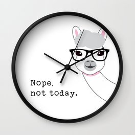 Nope, not today - Llama Wall Clock