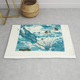mermaid of Zennor collagraph 1 Rug