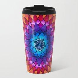Rainbow Psychedelic Dharma Dahlia Mandala Colored Pencil Illustration by Imaginarium Creative Studio Travel Mug