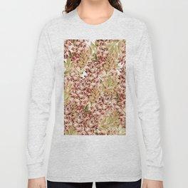 Vintage boho mauve pink dusty green floral Long Sleeve T-shirt