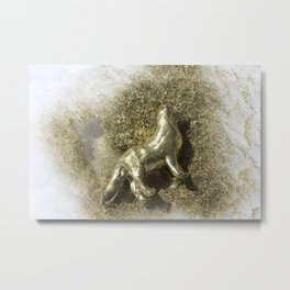 Gold Clay Dog in the Snow, No. 1 Metal Print