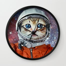 Astronaut Cat #4 Wall Clock