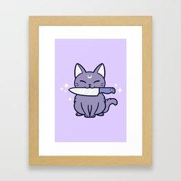 Black Knife Kitten 01 Framed Art Print
