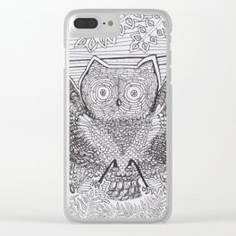 Adult Coloringbook Template Owl Clear iPhone Case