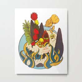 Garden Skull Metal Print