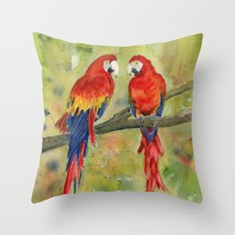 Scarlet Macaw Parrots Throw Pillow