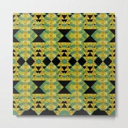 Elegant Green & Gold Geometric Metal Print