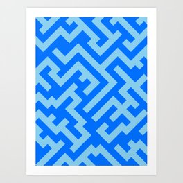 Baby Blue and Brandeis Blue Diagonal Labyrinth Art Print