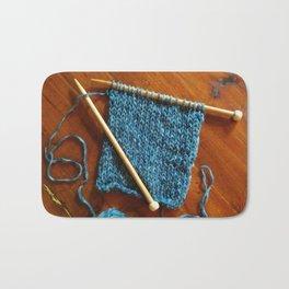 knitting photo, denim, denim photo, blue, wood, knitting, knit, brown, Bath Mat