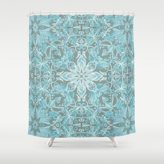 Soft Teal Blue Grey Hand Drawn Floral Pattern Shower Curtain By Micklyn