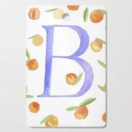 Tangerine Floral Letter B Monogram Cutting Board