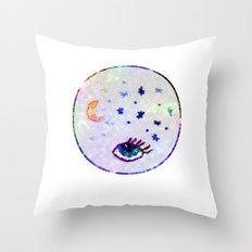Night Sky Moon Eye Throw Pillow