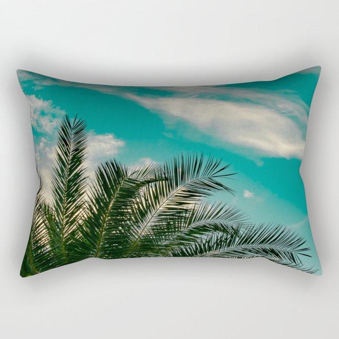Palms on Turquoise - II Rectangular Pillow