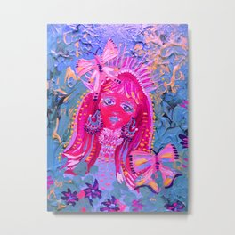 Pink Butterfly Fairy Metal Print