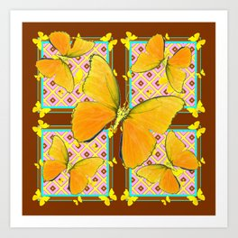 Yellow Butterflies Coffee Brown Pink & Blue Patterns Art Print
