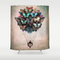 butterflies Shower Curtains featuring Dream On by Christian Schloe