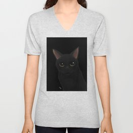 Black cat in black Unisex V-Neck