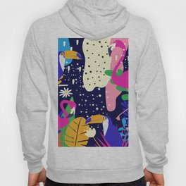 Colorful tropical forest flamingos and parrot Hoody