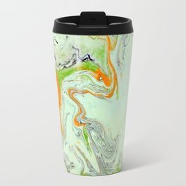Bright Orange Marble Print - Colorful Graphic Art Travel Mug