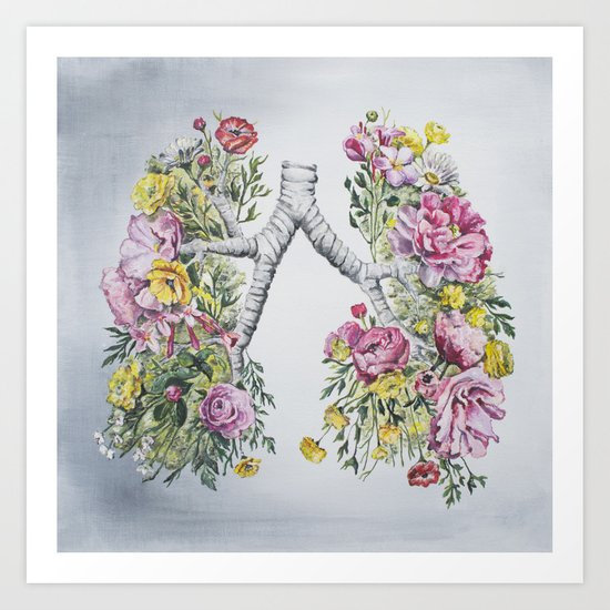 Floral Anatomy Lungs Art Print