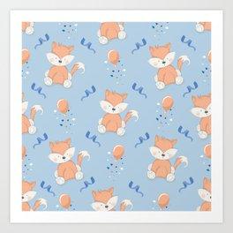Happy Birthday Fox Blue Pattern Art Print