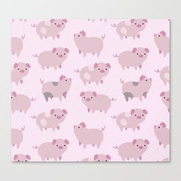 Cute Pink Piglets Pattern Canvas Print