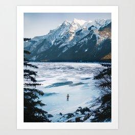 Winter at Lake Minnewanka Art Print