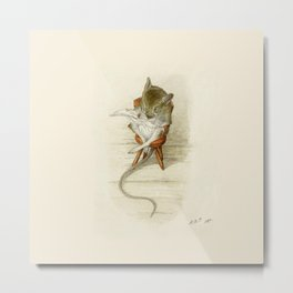 Grandfather Mouse Reading the Newspaper Metal Print