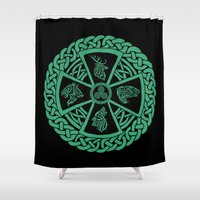 skyrim Shower Curtains featuring Celtic Nature by Astrablink7