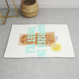 A special T-shirt design who loves sweet Tea T-shirt! Get Baptized in Sweet Tea T-shirt Design Rug