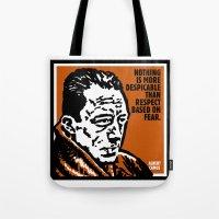 camus Tote Bags featuring ALBERT CAMUS QUOTATION by Lestaret