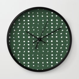 painted dots on forest green Wall Clock