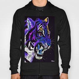 Tiger Ferocious Abstract Blue Hoody