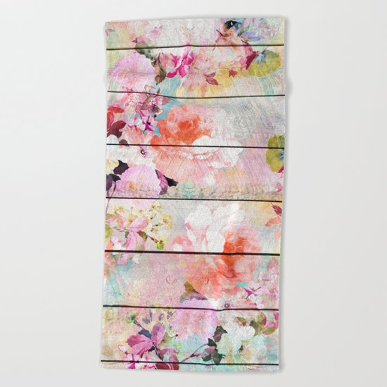 Summer pastel pink purple floral watercolor rustic striped wood pattern Beach Towel