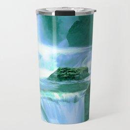 Serene Waterfall in Blue and Green Travel Mug