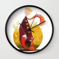 le petit prince Wall Clocks featuring Le Petit Prince by Federica Fabbian