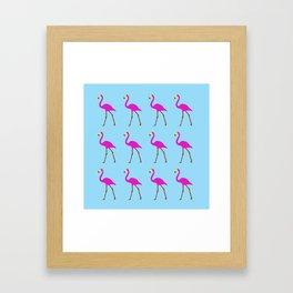 Flamingos in blue Framed Art Print