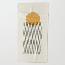 Ocean wave gold sunrise - mid century style Beach Towel