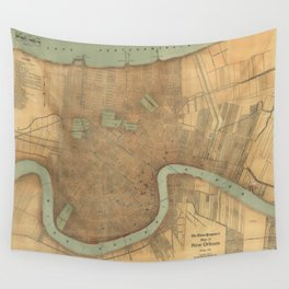 Vintage Map of New Orleans (1919) Wall Tapestry