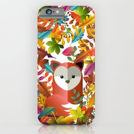 Cute Fox with Autumn Leaves iPhone Case