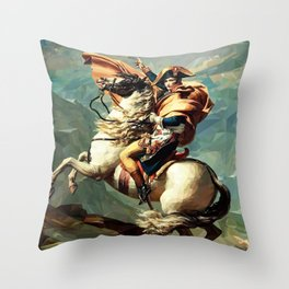 France's Napoleon Crossing the Alps Throw Pillow