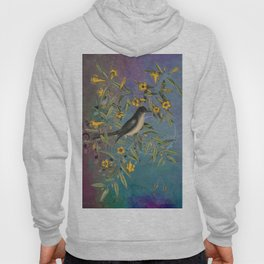 Flycatcher with Carolina Jasmine, Vintage Natural History and Botanical Hoody