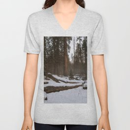 Snowy Sequoia Meadow Unisex V-Neck