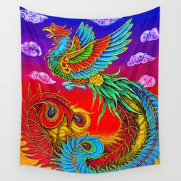 Colorful Fenghuang Chinese Phoenix Rainbow Bird Wall Tapestry