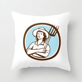 Female Organic Farmer Pitchfork Circle Retro Throw Pillow