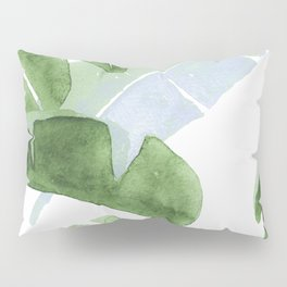 Tropical Leaves Green And Blue Pillow Sham