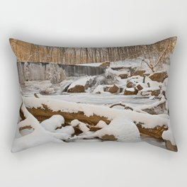 Winter Sunset Waterfall Rectangular Pillow