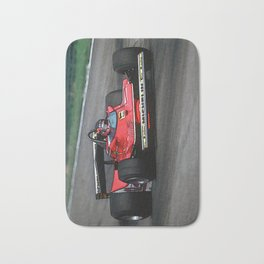 Sketch of F1 Champion Gilles Villeneuve - year 1979 car 312 T4 - Vertical Bath Mat