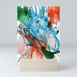 Orange and Blue Botanical Coral Reef Abstract Mini Art Print