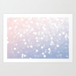 Pink Blue Pastel Rose quartz serenity sparkly bokeh Abstract Art Print